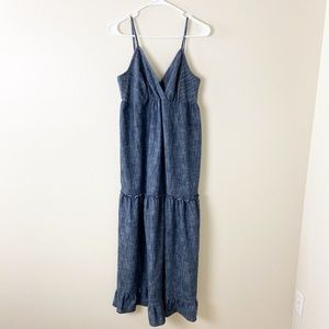 KARI New York Chambray Tie-Back Slip Dress 8 #4170